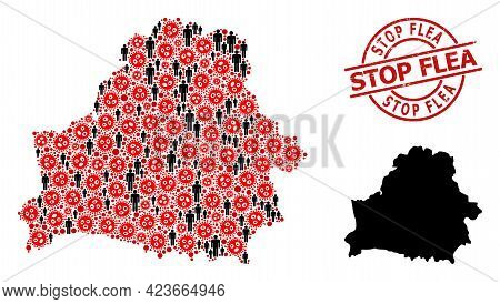 Mosaic Map Of Belarus Designed From Covid Infection Elements And People Elements. Stop Flea Grunge B