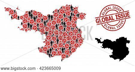 Collage Map Of Gerona Province United From Flu Virus Icons And Men Elements. Global Issue Scratched