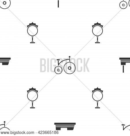 Set Bumper Car, Vintage Bicycle And Circus Fire Hoop On Seamless Pattern. Vector