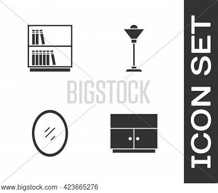 Set Wardrobe, Library Bookshelf, Mirror And Floor Lamp Icon. Vector
