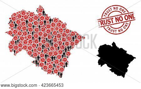 Mosaic Map Of Uttarakhand State Designed From Flu Virus Icons And Men Elements. Trust No One Distres