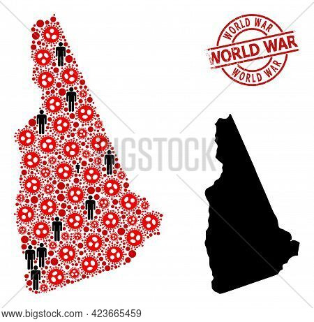 Mosaic Map Of New Hampshire State Constructed From Covid Infection Items And Men Items. World War Te