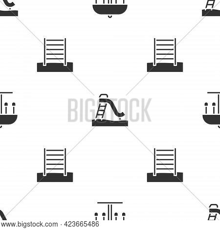 Set Attraction Carousel, Kid Slide And Swedish Wall On Seamless Pattern. Vector