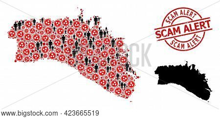 Mosaic Map Of Menorca Island Organized From Covid-2019 Icons And Men Icons. Scam Alert Textured Seal