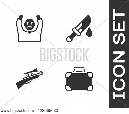 Set Briefcase And Money, Thief Surrendering Hands Up, Sniper Rifle With Scope And Bloody Knife Icon.