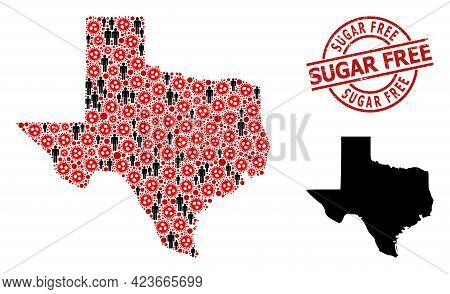 Collage Map Of Texas State United From Virus Outbreak Icons And People Items. Sugar Free Distress Se