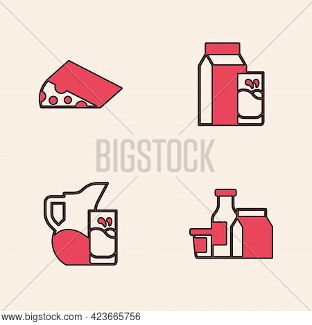 Set Milk Product, Cheese, Paper Package For Kefir And Jug Pitcher And Glass Icon. Vector