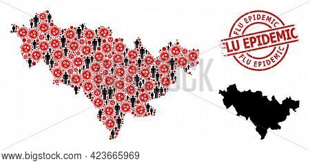 Collage Map Of Jilin Province United From Virus Outbreak Icons And Demographics Items. Flu Epidemic