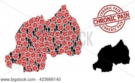 Collage Map Of Rwanda United From Covid-2019 Items And People Items. Chronic Pain Scratched Seal. Bl