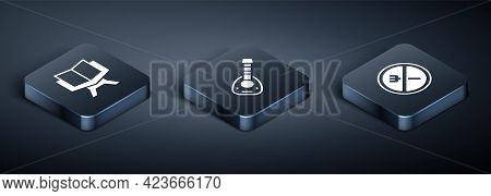 Set Isometric Holy Book Of Koran, Ramadan Fasting And Lute Icon. Vector