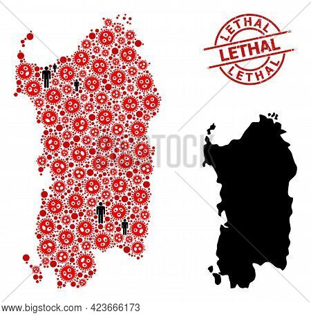 Mosaic Map Of Sardinia Region Composed Of Virus Outbreak Icons And People Icons. Lethal Grunge Badge