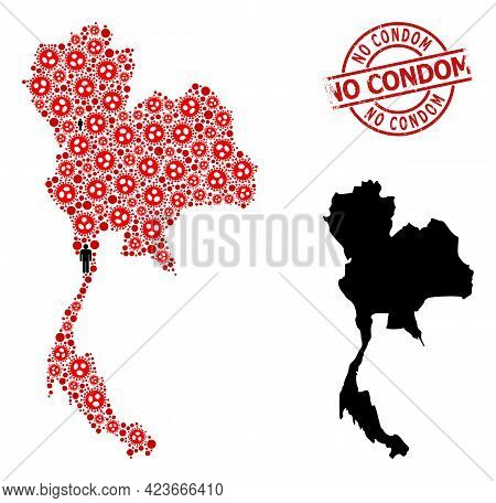 Collage Map Of Thailand Constructed From Covid Elements And People Icons. No Condom Textured Waterma