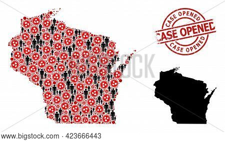 Collage Map Of Wisconsin State Designed From Sars Virus Items And Demographics Items. Case Opened Te