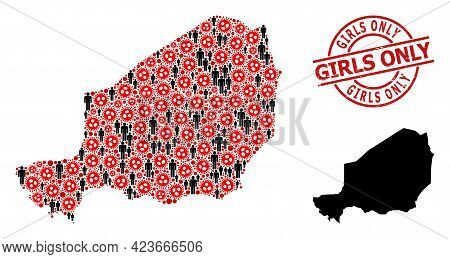 Mosaic Map Of Niger United From Covid-2019 Items And Men Icons. Girls Only Grunge Watermark. Black P