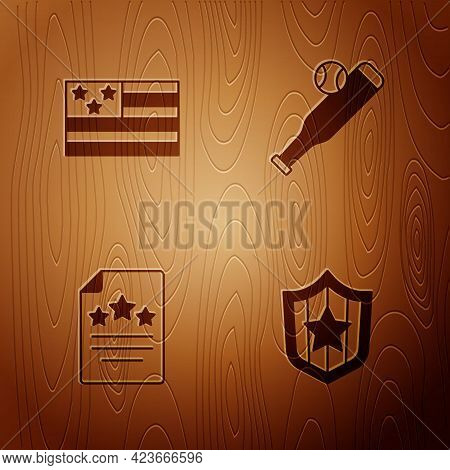 Set Shield With Stars, American Flag, Declaration Of Independence And Baseball Bat Ball On Wooden Ba