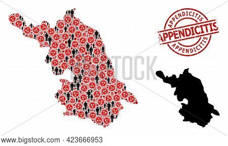 Mosaic Map Of Jiangsu Province Designed From Flu Virus Icons And Men Icons. Appendicitis Scratched B