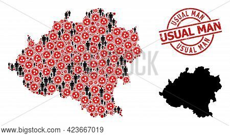Collage Map Of Soria Province United From Sars Virus Elements And People Icons. Usual Man Scratched