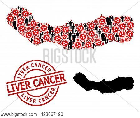 Mosaic Map Of Sao Miguel Island Constructed From Flu Virus Elements And Men Icons. Liver Cancer Grun