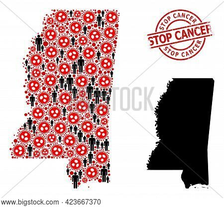Collage Map Of Mississippi State United From Sars Virus Icons And Humans Items. Stop Cancer Distress