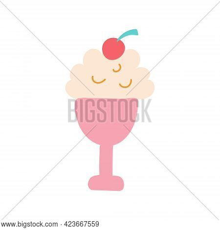 Ice Cream In A Pink Cream Bowl With A Cherry. Vector Flat Image. Decorative Element For Posters, Pos
