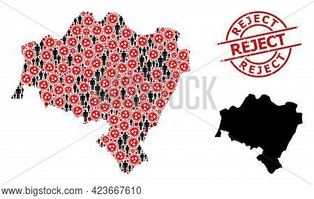 Mosaic Map Of Lower Silesia Province Constructed From Sars Virus Items And People Items. Reject Text