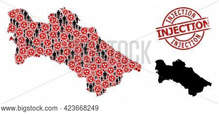 Collage Map Of Turkmenistan United From Covid Virus Icons And People Items. Injection Textured Stamp