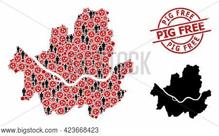 Mosaic Map Of Seoul Municipality United From Sars Virus Items And Humans Icons. Pig Free Textured Se
