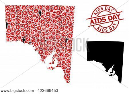 Collage Map Of South Australia Organized From Covid Virus Items And Demographics Elements. Aids Day