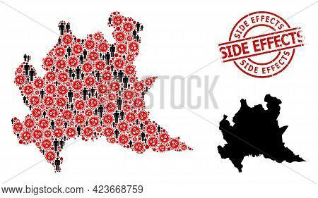 Mosaic Map Of Lombardy Region United From Sars Virus Items And People Elements. Side Effects Texture