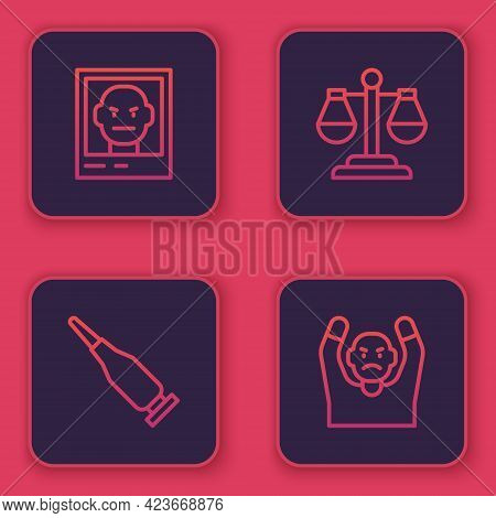 Set Line Wanted Poster, Bullet, Scales Of Justice And Thief Surrendering Hands Up. Blue Square Butto