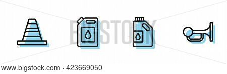 Set Line Canister For Motor Oil, Traffic Cone, And Signal Horn Vehicle Icon. Vector