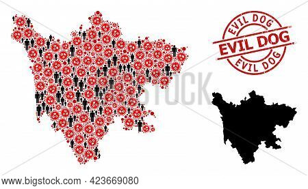 Collage Map Of Sichuan Province Designed From Virus Outbreak Icons And Population Icons. Evil Dog Di