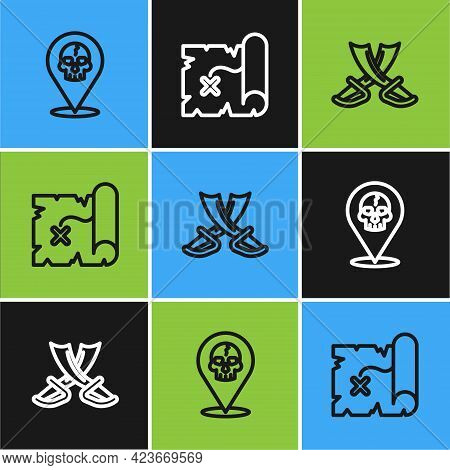 Set Line Location Pirate, Crossed Swords And Pirate Treasure Map Icon. Vector