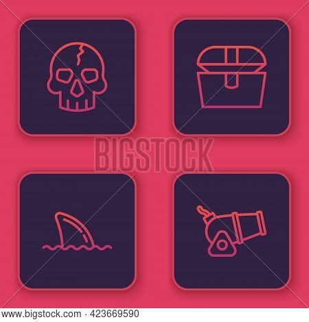Set Line Skull, Shark Fin In Ocean Wave, Antique Treasure Chest And Cannon. Blue Square Button. Vect