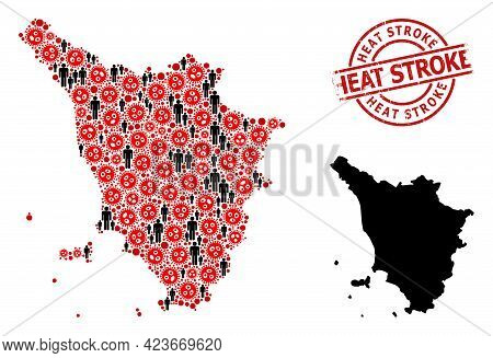 Mosaic Map Of Tuscany Region United From Virus Icons And Demographics Icons. Heat Stroke Grunge Seal