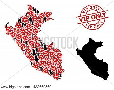 Mosaic Map Of Peru Composed Of Sars Virus Items And Humans Items. Vip Only Textured Watermark. Black