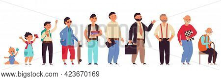 Male Different Ages. Cartoon Student, Old Man Child And Adult. Isolated Men Generation, Person Growt