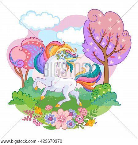 Vector Illustration Beatiful Unicorn With Rainbow Mane