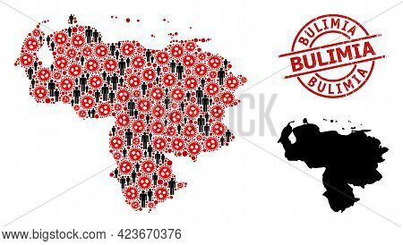 Collage Map Of Venezuela United From Sars Virus Icons And Humans Icons. Bulimia Distress Seal. Black