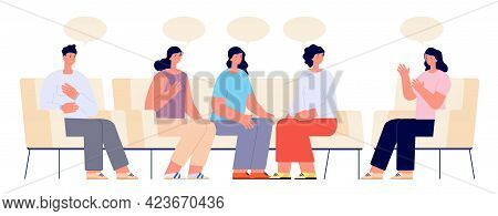 Therapy Support Group. Addiction Group, Female Doctor On Couch Meeting. Supporting Patient, Psycholo