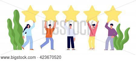 Client Feedback Review. Goods Reviews, Customers Popular Service. People Ranking Stars, Woman Man Ra