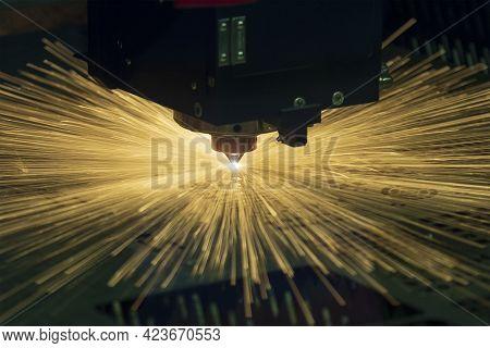 The Fiber Laser Cutting Machine Cutting  Machine Cut The Metal Plate. The Hi-technology Sheet Metal