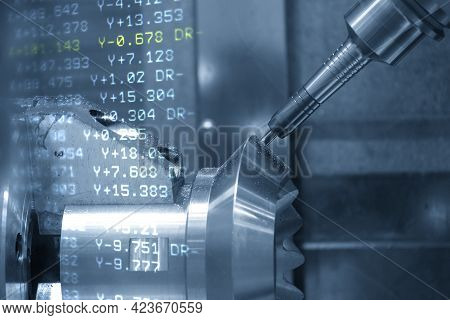 The Abstract Scene 5-axis  Machining Center Cutting The Automotive Parts With G-code Data Back Groun