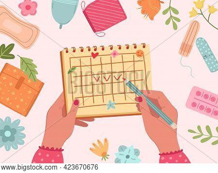Menstruation Period. Female Menstrual Cycle, Calendar Of Woman Health. Vaginal Sanitary Elements, Ca