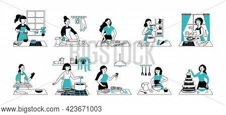 Women Cooking. Woman Kitchen, Preparing Food And Cook Stew Dining. Home Service, Happy Young Housewi