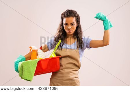 Portrait Of African-american Housewife Who Is Ready For Housework.