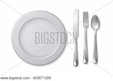 Isolated Plate Knife Fork. Cutlery On Napkin, Serving Table. Restaurant Or Cafe, Bar Equipment. Meta