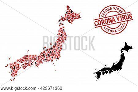 Mosaic Map Of Japan Organized From Sars Virus Icons And Population Items. Corona Virus Grunge Seal.