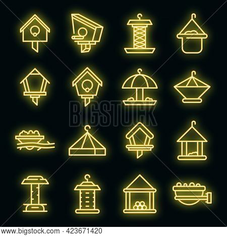 Bird Feeders Icons Set. Outline Set Of Bird Feeders Vector Icons Neon Color On Black