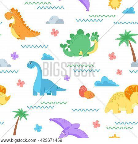 Cute Dinosaur Pattern. Dino Surface, Dinosaurs Kids Fashion Textile Print. Newborn Cloth, Adorable A